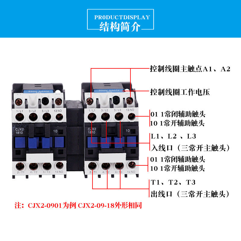 CJX2-N AC Reversing Contactor , 3 Phase Reversing Contactor 3P 4P 9A~95A AC-3 AC-1
